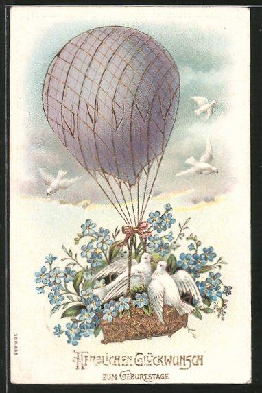 AK Glückwunsch zum Geburtstage, Ballon mit weissen Tauben und Vergissmeinnicht
