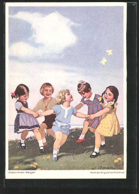 Künstler-AK W.I.: Indanthren-Reigen, Kinder tanzen Ringelreihen