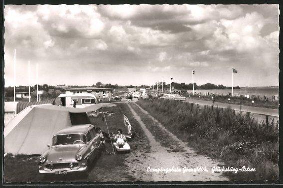 AK Glücksburg, Campingplatz Grenzblick, Opel auf Zeltplatz