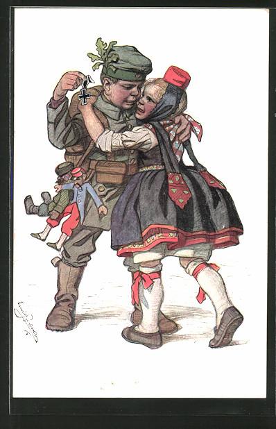Künstler-AK Emil Beithan: Hessenkarte Nr. 8, kleiner Soldat und Mädel in Tracht
