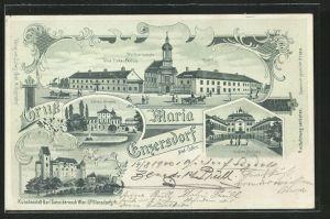 Lithographie Maria Enzersdorf, Wallfahrtskirche, Schloss Liechtenstein, Villa Tirka-Peyfuss, Pferdekutsche