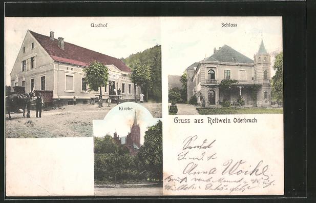 AK Reitwein, Gasthof, Schloss, Kirche, Pferdegespann