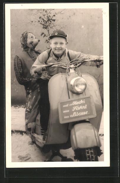 Foto-AK Motorrad NSU-Motorroller mit Mecki