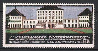 Künstler-Reklamemarke Ludwig Hohlwein, Nymphenburg - Villenkolonie, Heilmann'sche Immobilien AG, Schloss