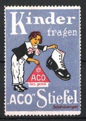 Reklamemarke Aco Stiefel, Knabe mit Stiefel & Firmenlogo