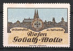 Reklamemarke Regensburg, Riesen-Goliath Wolle, Stadtansicht & Firmenlogo