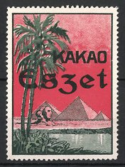 Reklamemarke Kakao Eszet, Sphinx & Pyramiden von Giseh in Ägypten