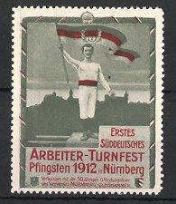 Reklamemarke Nürnberg, Arbeiter-Turnfest 1912, Fahnenträger & Silhouette der Stadt, grün