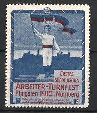 Reklamemarke Nürnberg, Arbeiter-Turnfest 1912, Fahnenträger am Stadtrand, blau