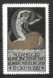 Reklamemarke Nürnberg, Kunst-Ausstellung Nürnberger Kunstgenossenschaft 1913, Frauenakt auf Walfisch reitend