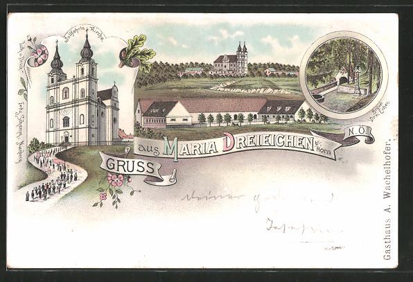 Lithographie Maria Dreieichen, Wallfahrts Kirche, Bründl Drei Eichen, Ortsansicht