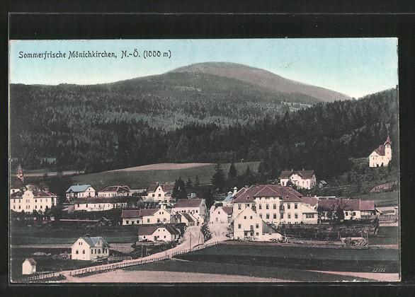 AK Mönichkirchen, Hotel Lang mit Ortsansicht