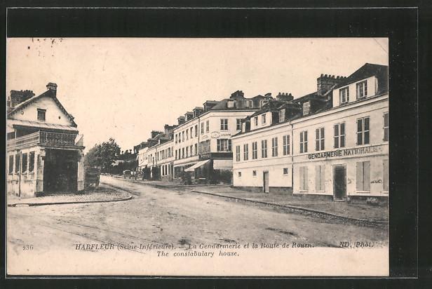 AK Harfleur, la gendarmerie et la route de Rouen