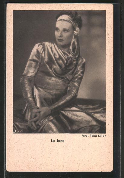 AK Portrait der Schauspielerin La Jana in eleganter Robe