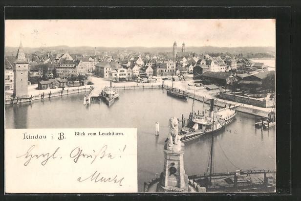 AK Lindau, Blick vom Leuchtturm auf den Hafen, Dampfer