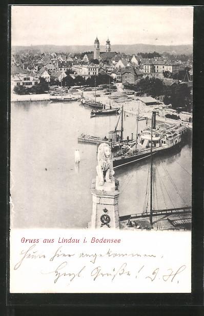 AK Lindau, Blick auf den Hafen, Dampfer