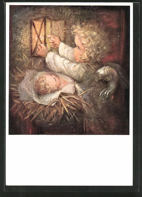 Künstler-AK Maria Spötl: Engel entzündet Laterne über dem Jesuskind