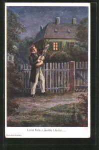 Künstler-AK Schubertlieder, Leise flehen meine Lieder..., Sänger mit Gitarre an Gartenzaun