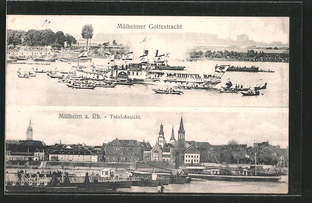Ak Koln Mulheim Mulheimer Gottestracht Rheindampfer Totalansicht