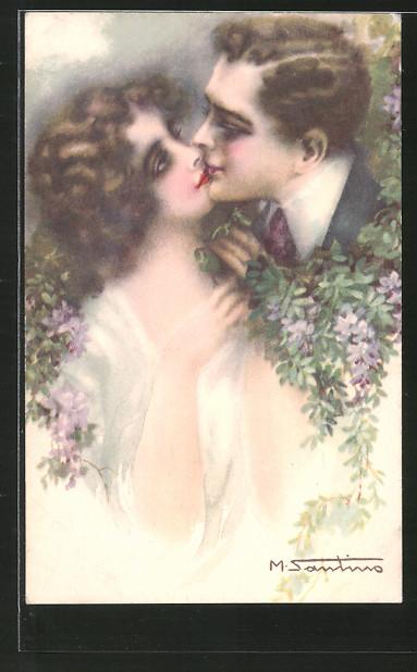 Künstler-AK M. Santino: Liebespaar beim Kuss
