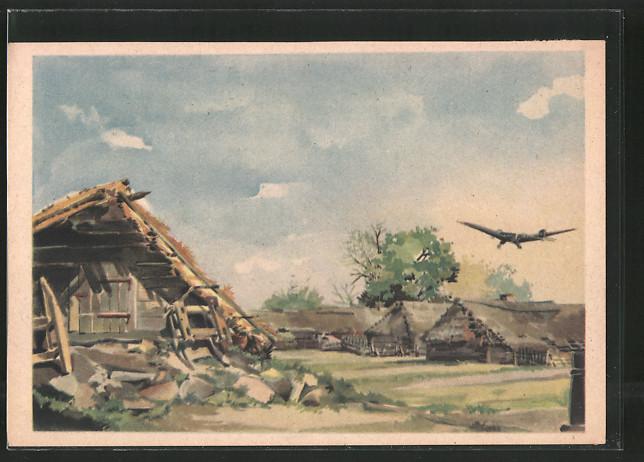 Künstler-AK Flugzeug über einem Dorf