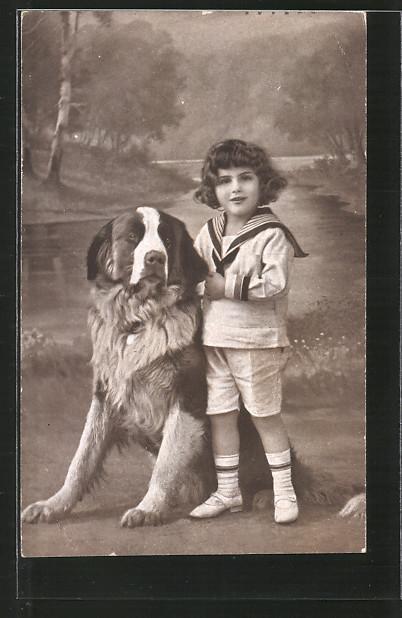 AK kleines Mädchen mit ihrem grossen Hund, Tierfreundschaft
