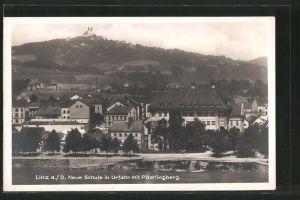 AK Linz, Neue Schule in Urfahr mit Pöstlingberg