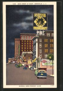AK Greenville, SC, Main Street at Night, Showing News-Piedmont Clock