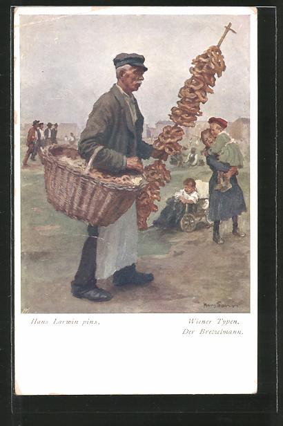 Künstler-AK Hans Larwin: Wiener Typen, der Bretzelmann