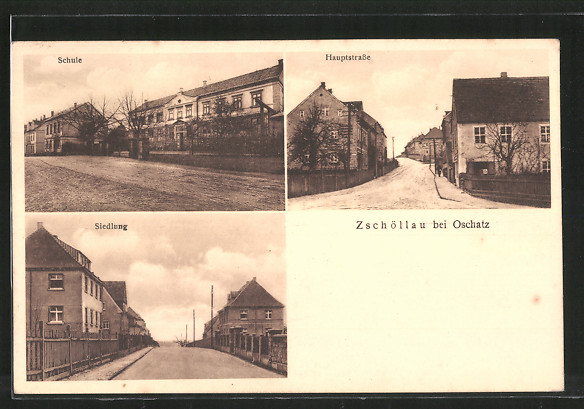 AK Zschöllau, Schule, Hauptstrasse, Strassenpartie in der Siedlung