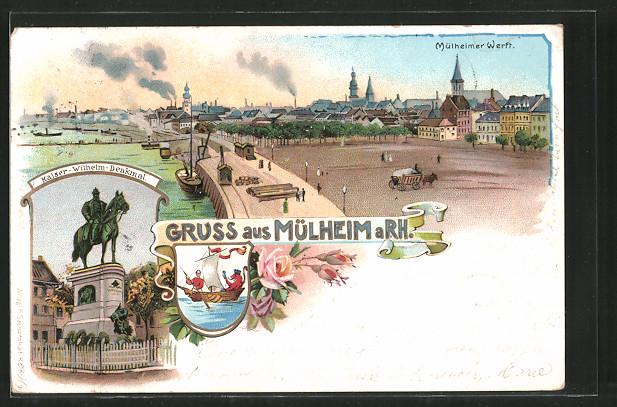 Lithographie Köln-Mülheim, Kaiser Wilhelm Denkmal, Mülheimer Werft