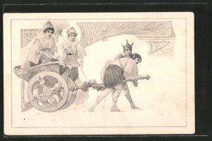 Künstler-AK M. Munk: vornehme Dame fährt mit einem Wagen