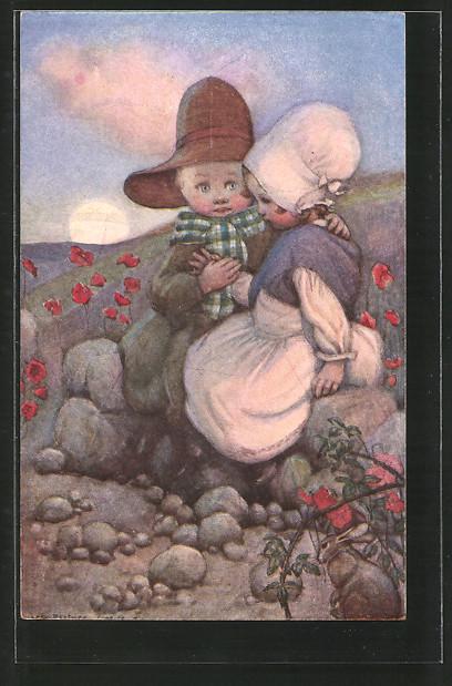 Künstler-AK Susan Beatrice Pearse: kleines Paar und Kaninchen
