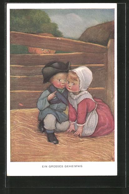 Künstler-AK Susan Beatrice Pearse: Ein grosses Geheimnis, kleines Paar wird belauscht