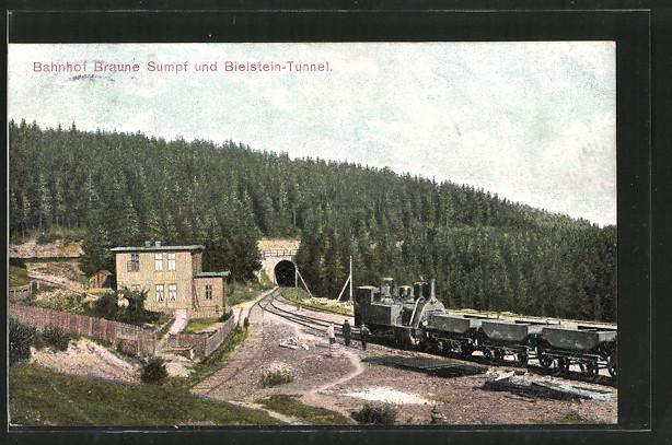AK Blankenburg, Bahnhof Braune Sumpf und Bielstein-Tunnel, Kleinbahn