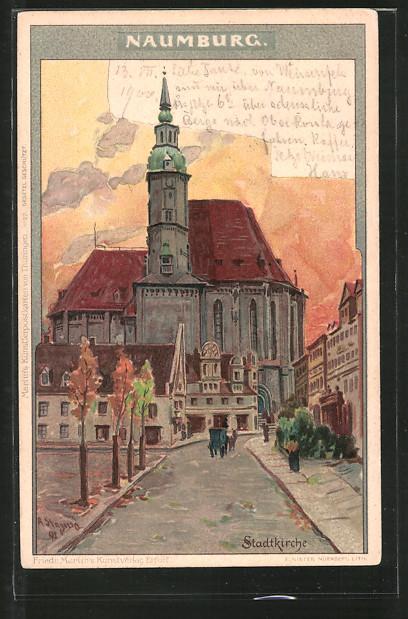 Künstler-Lithographie Albert Stagura: Naumburg, Partie an der Stadtkirche, Pferdekutsche