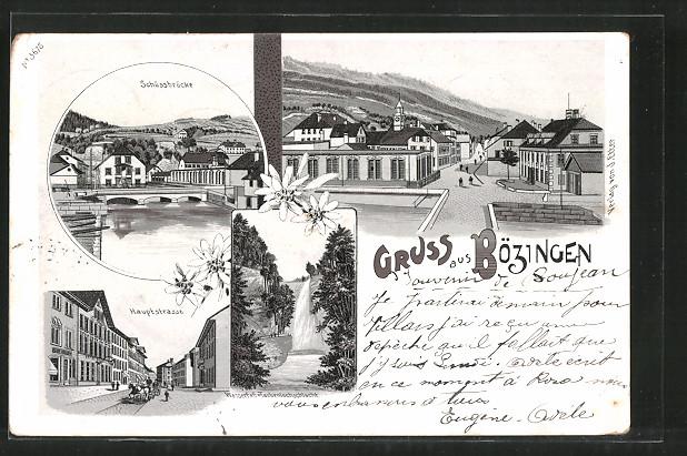 Lithographie Bözingen, Schüssbrücke, Hauptstrasse, Wasserfall Taubenlochschlucht
