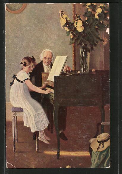 Künstler-AK Degi Nr. 1043: die erste Klavierstunde, Mädchen am Klavier