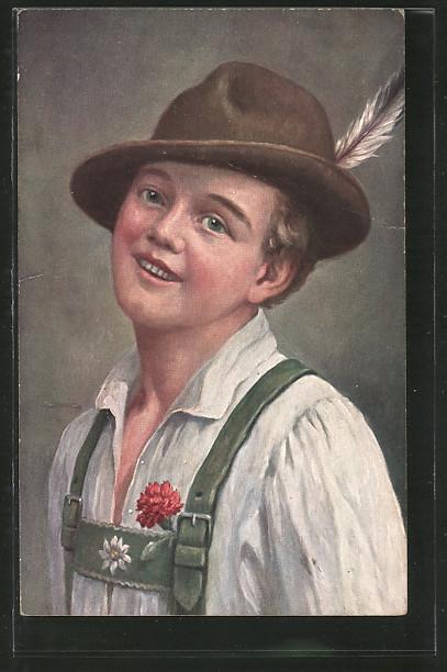 Kunstler Ak Theo Stroefer Nr 1279 Junge Mann Mit Hut In Bayrischer