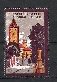 Reklamemarke Schaffhausen, Verkehrsverein, Strassenpartie mit Gebäudeansicht