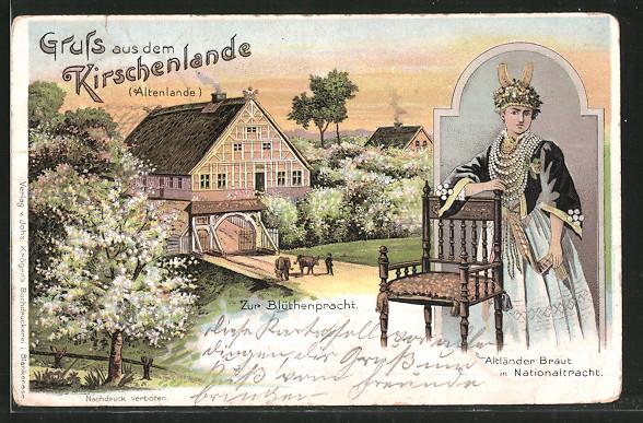 Lithographie Jork, Ortsansicht zur Blütenpracht, Altländer Braut in Nationaltracht