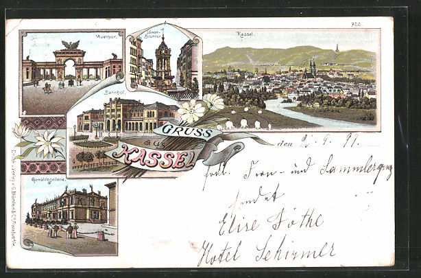 Lithographie Kassel, Totalansicht, Löwenbrunnen, Bahnhof, Auethor