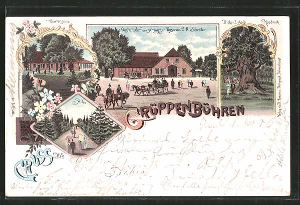 Lithographie Grüppenbühren, Gasthaus zum schwarzen Ross v. C. Schröder, Dicke Eiche Hasbruch, Pferdegespann
