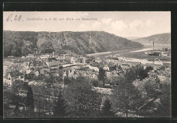 AK Karlshafen, Ortspanorama mit Blick ins Wesertal