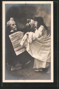 Foto-AK Henri Manuel: Frau liest die Zeitung La Lanterne