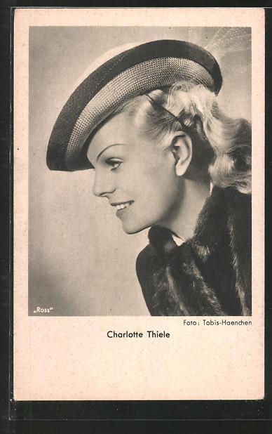 AK Schauspielerin Charlotte Thiele im Halbprofil porträtiert