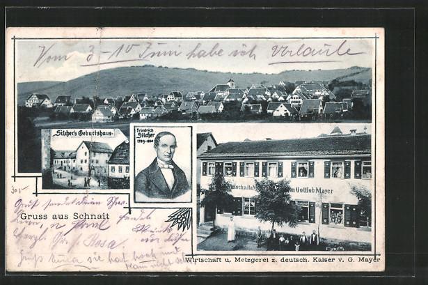 AK Schnait, Gasthaus Metzgerei zum deutschen Kaiser v. G. Mayer, Silcher's Geburtshaus, Friedrich Silcher, Gesamtansicht