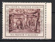 Reklamemarke Na Ceste Vitezne Svobode, Na Fronte V Alsasku, Tschechische Legion, Soldaten an der Front im Elsass