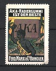 Reklamemarke Hannover, AKA-Radiergummi, Ferd. Marx & Co., afrikanischer Eingeborener schultert Radiergummi