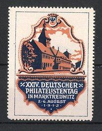 Künstler-Reklamemarke Max Märtens, Marktredwitz, XXIV. Deutscher Philatelistentag 1912, Gebäudeansicht